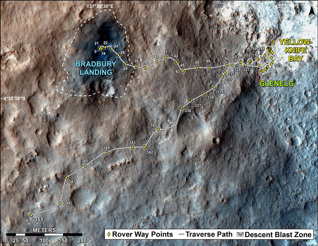 Route Marsrover Curiosity 2012-2013