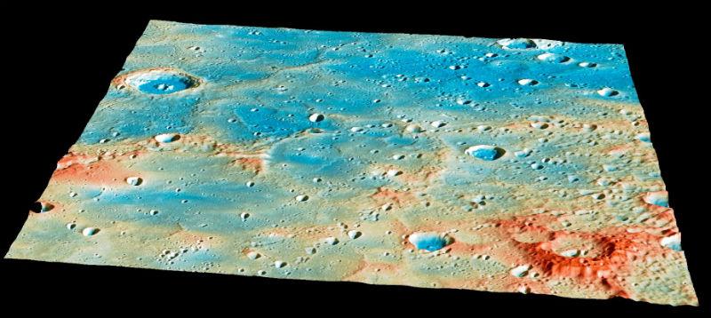 De crash site van MESSENGER op Mercurius.