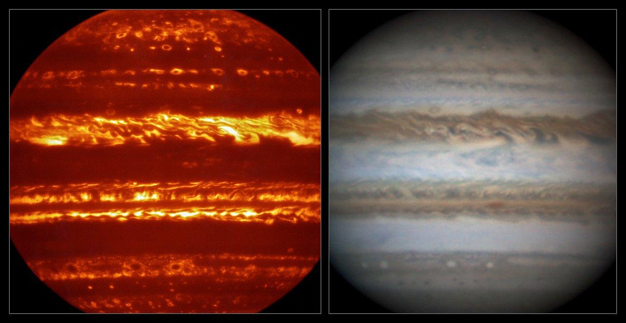 Jupiter in infrarood en zichtbaar licht