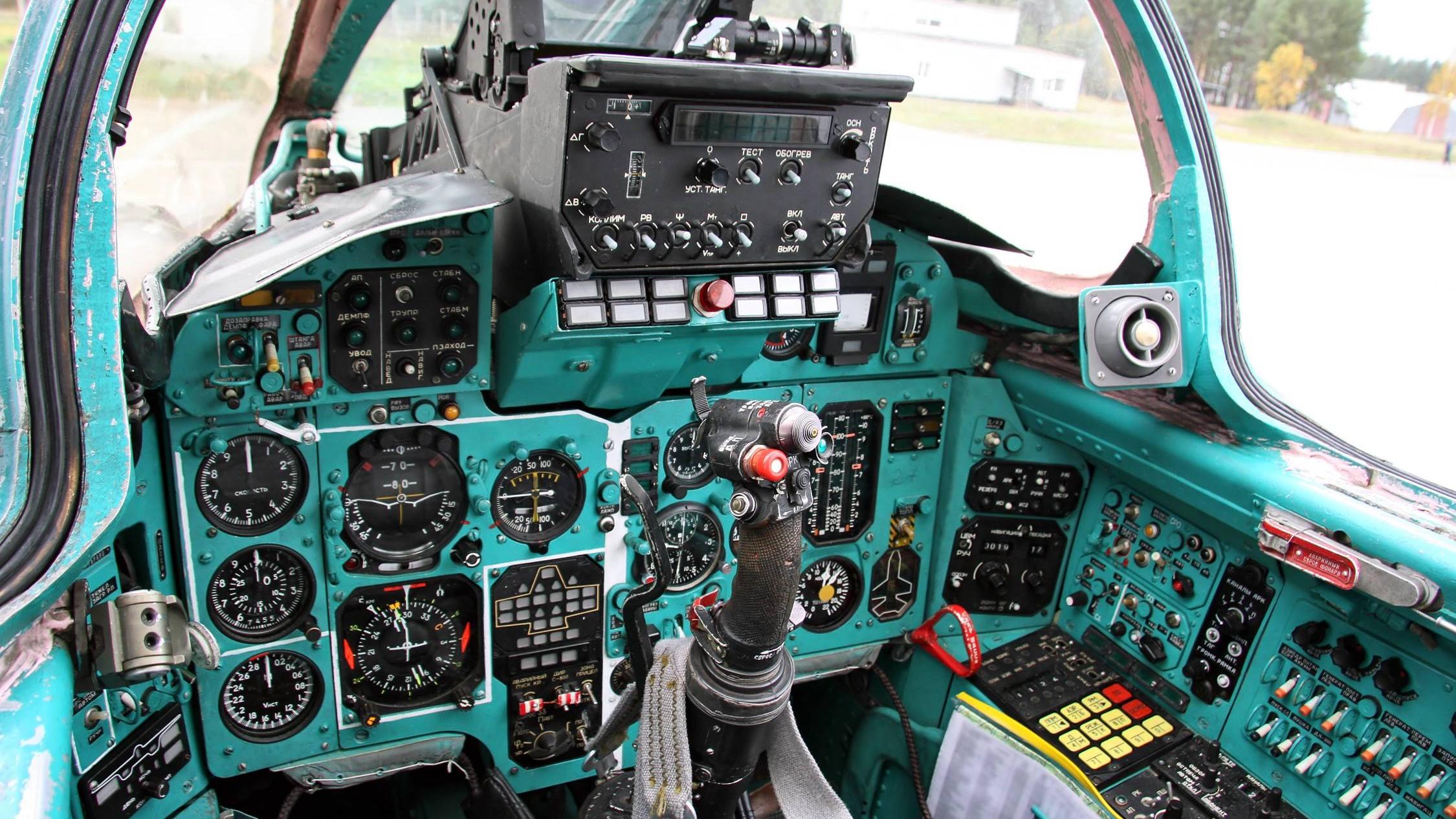Russische cockpit blauwgroen