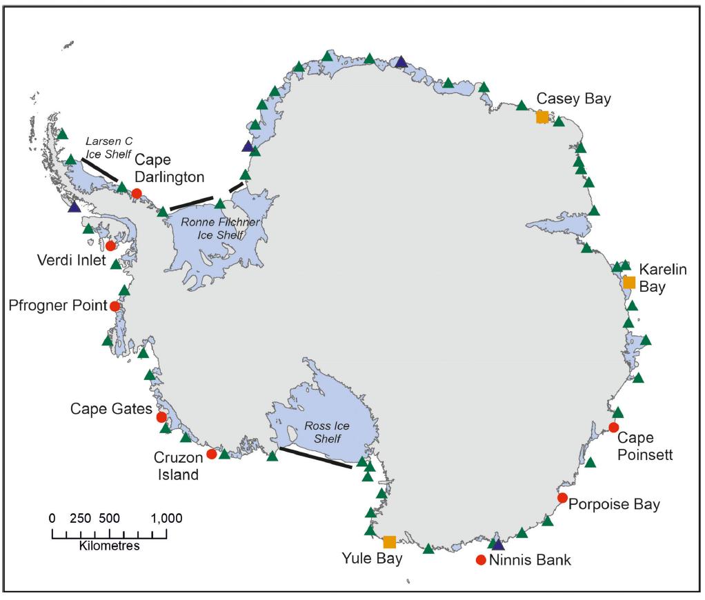 Wetenschappers van , British Antarctic Survey ontdekten acht nieuwe keizerpinguinkolonies (in rood) en herondekte er drie (in geel)