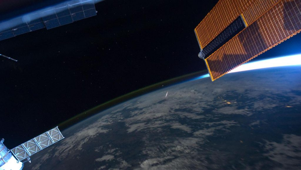 Meteoor van de Perseiden vanuit ISS