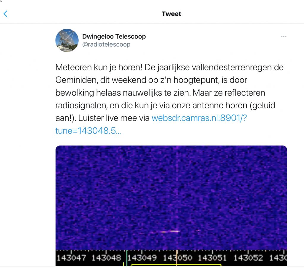 Tweet Dwingeloo telescoop geluid meteoren